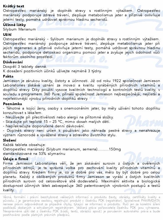 JAMIESON Silybum marianum-Ostrop.mariánský tbl.90