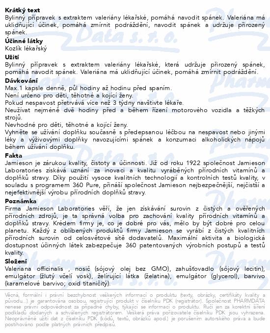 JAMIESON Valeriana 400mg-Kozlík lékařský cps.60